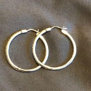 Silver diamond hoops